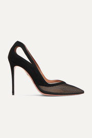 Shiva 105 cutout mesh and suede pumps