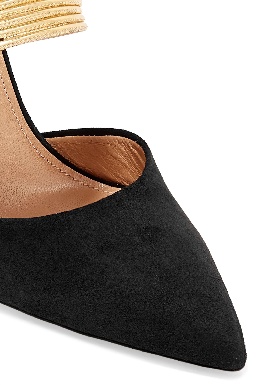 Aquazzura Rendez Vous 105 suede and metallic leather mules