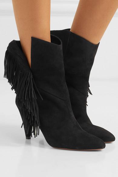 Aquazzura Boots Wild Fringe 90 fringed suede ankle boots