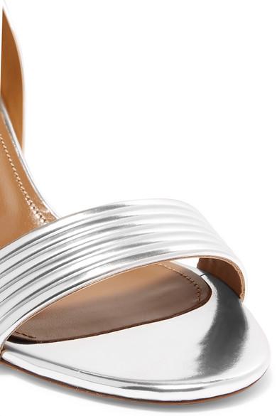 Aquazzura Sandals Sundance 50 metallic faux leather sandals