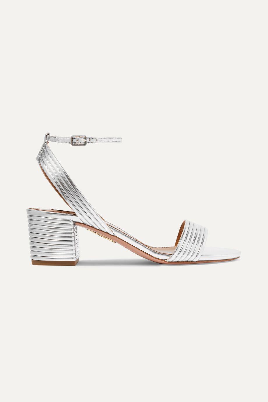 Aquazzura Sundance 50 金属感纯素皮革凉鞋