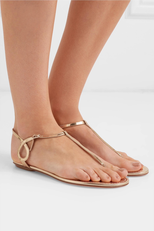 Aquazzura Almost Bare Sandalen aus Metallic-Leder