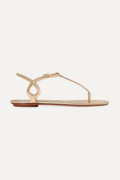 10Mm Almost Bare Mirror Leather Flats in Gold