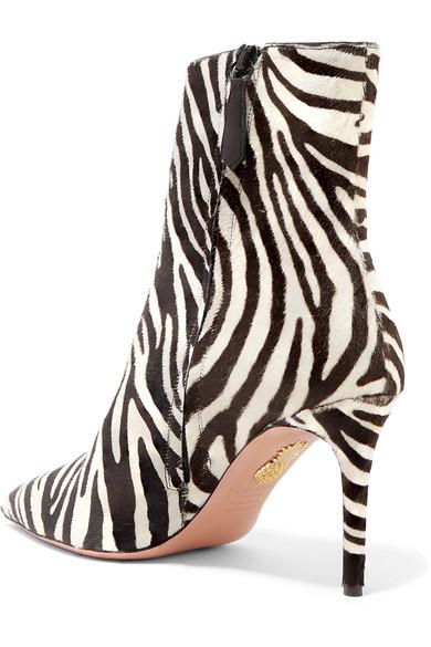 Aquazzura Boots Alma 85 zebra-print calf hair ankle boots