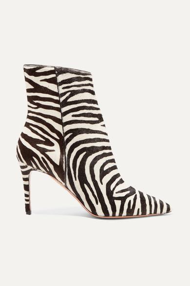 Alma 85 zebra,print calf hair ankle boots