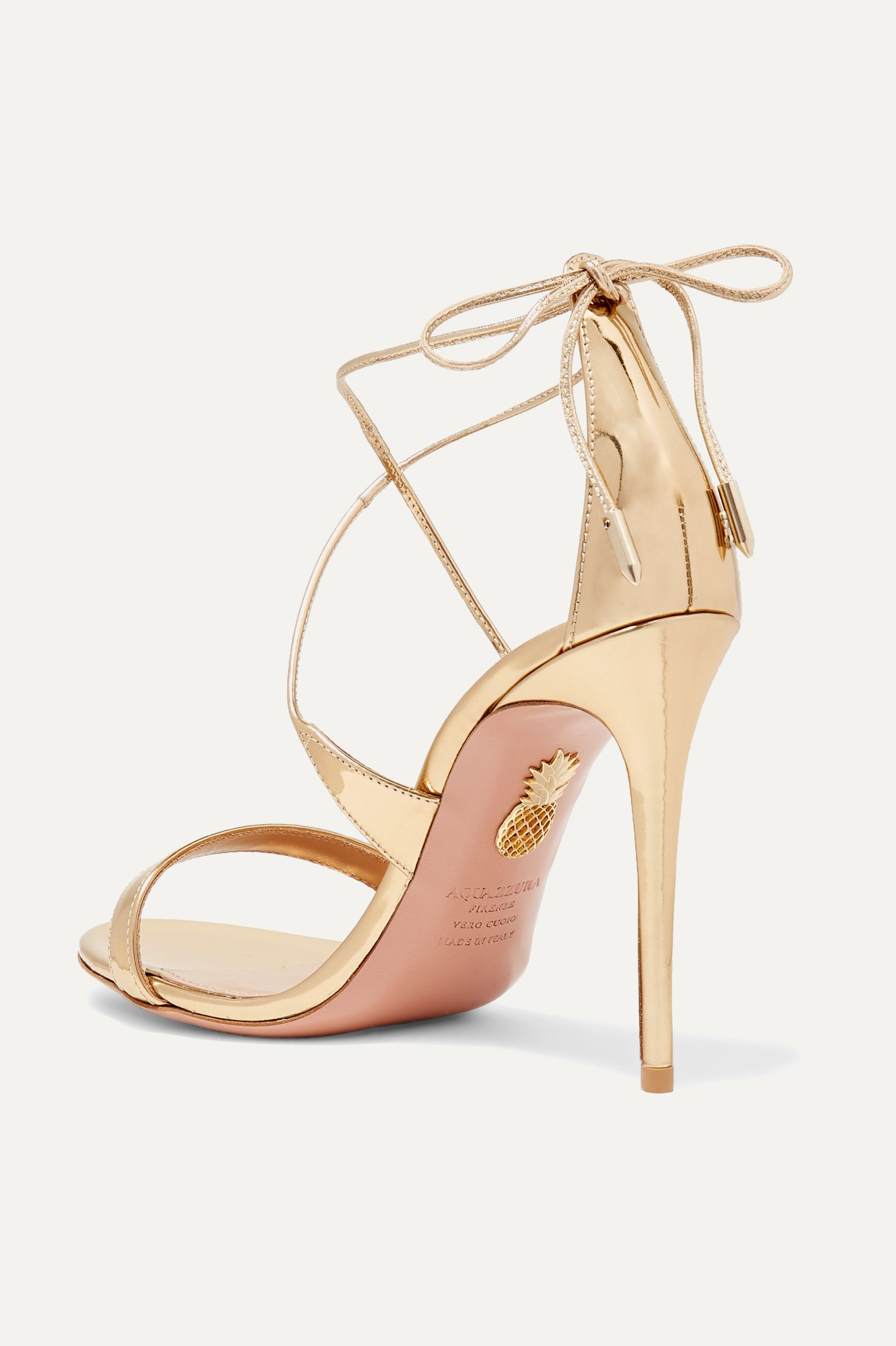 Aquazzura Linda 105 metallic leather sandals