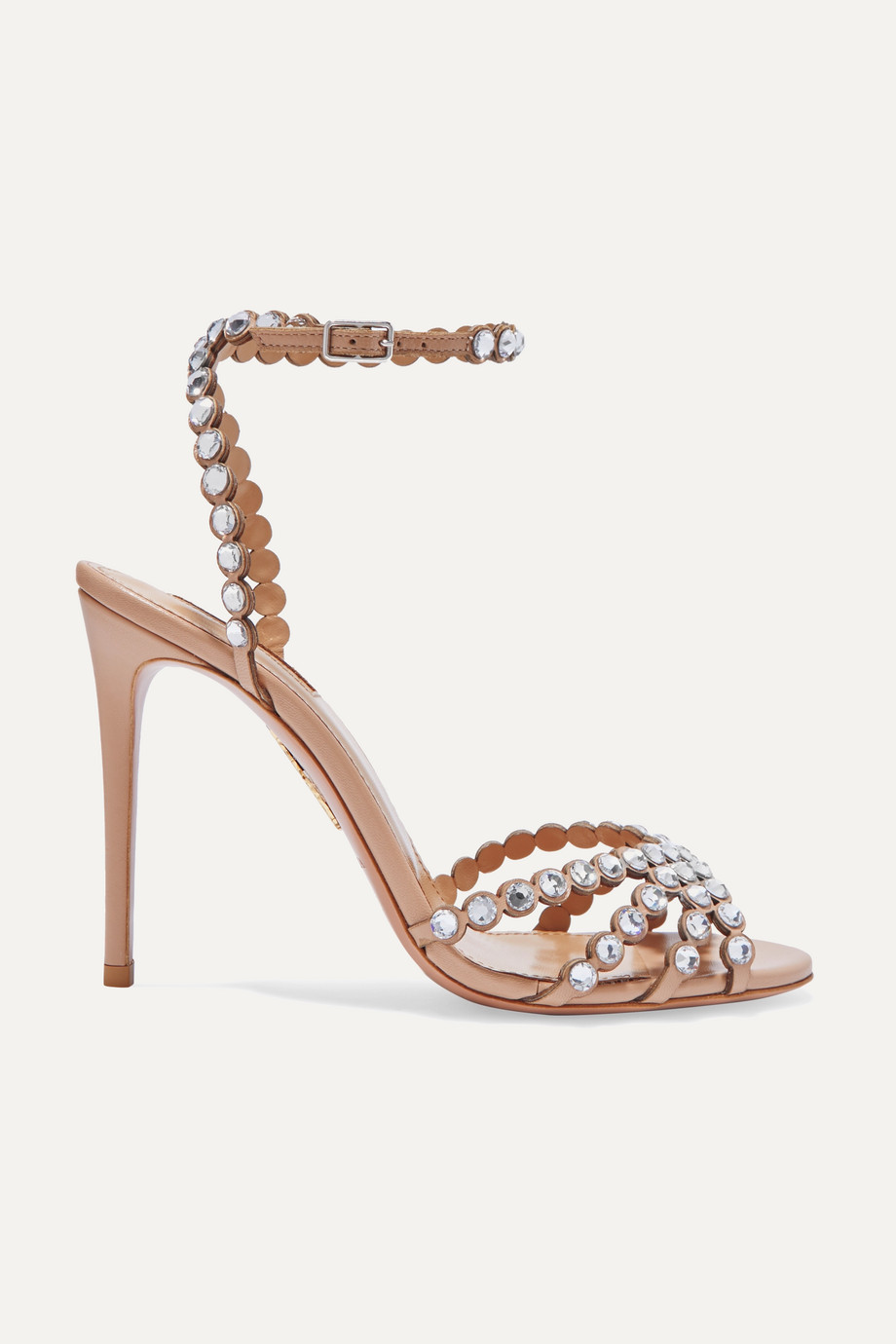 Aquazzura Tequila 105 crystal-embellished leather sandals