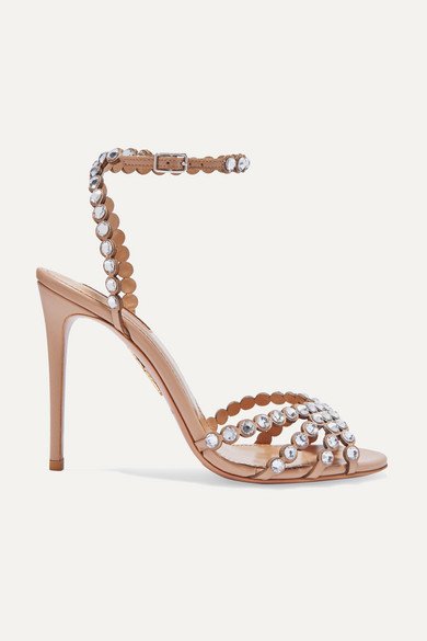 Tequila 105 Crystal-Embellished Leather Sandals in Neutral