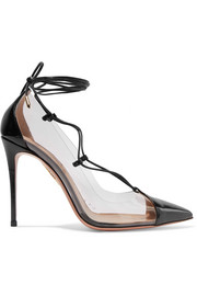 Magic lace-up PVC and patent-leather pumps