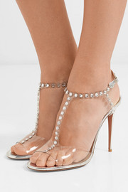 Shine 105 embellished PVC and metallic leather sandals
