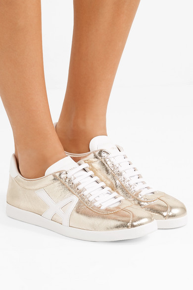 Aquazzura Sneakers The A metallic textured-leather sneakers