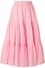 Ruffled broderie anglaise cotton midi skirt
