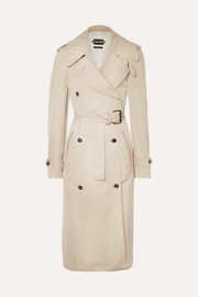 Double-breasted leather-trimmed twill trench coat