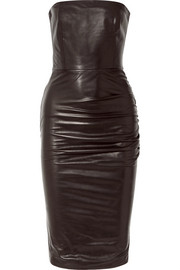 TOM FORD Strapless ruched leather dress