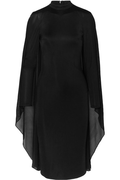 Tom Ford Dress Cape-effect satin-jersey and chiffon dress