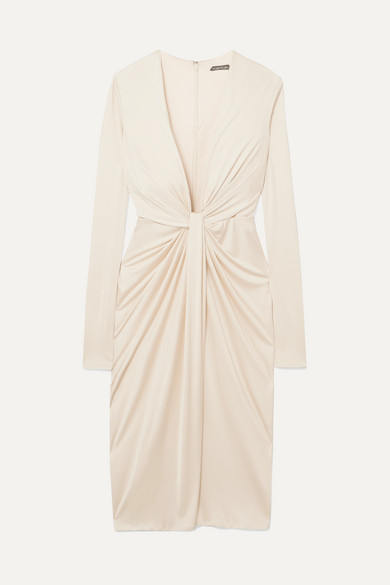 Twist-Front Satin-Jersey Dress in White from TOM FORD