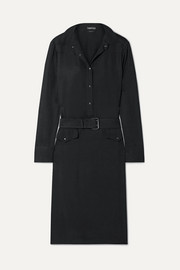 TOM FORD Belted washed crepe de chine dress