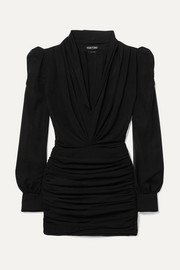 TOM FORD Ruched silk-blend georgette mini dress