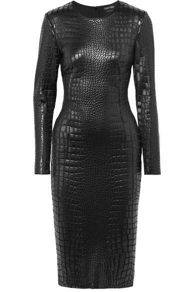 Croc-Effect Lacquered-Jersey Dress in Black from TOM FORD
