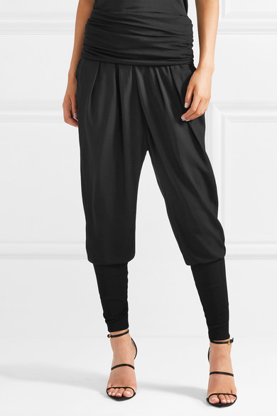 Tom Ford Pants Ruched jersey-paneled twill track pants