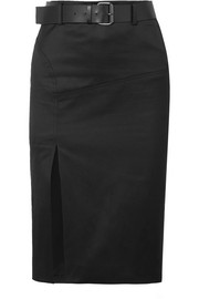 TOM FORD Belted cotton-blend twill skirt