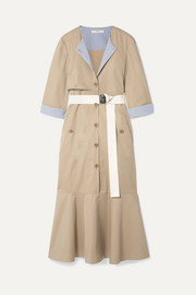 Tibi Finn belted striped canvas-trimmed cotton-twill midi dress