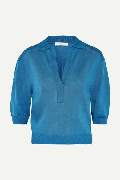 Plunging Polo Sweater in Blue