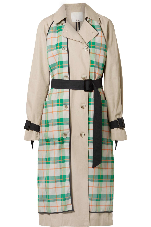 Hani convertible check-paneled cotton-twill trench coat