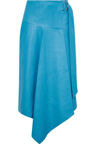 Asymmetrical Drape Tissue Leather Skirt in Blue