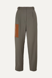 Tablier faux leather-trimmed woven pants