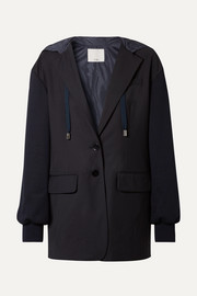 Tibi Reversible hooded jersey and shell-paneled woven blazer