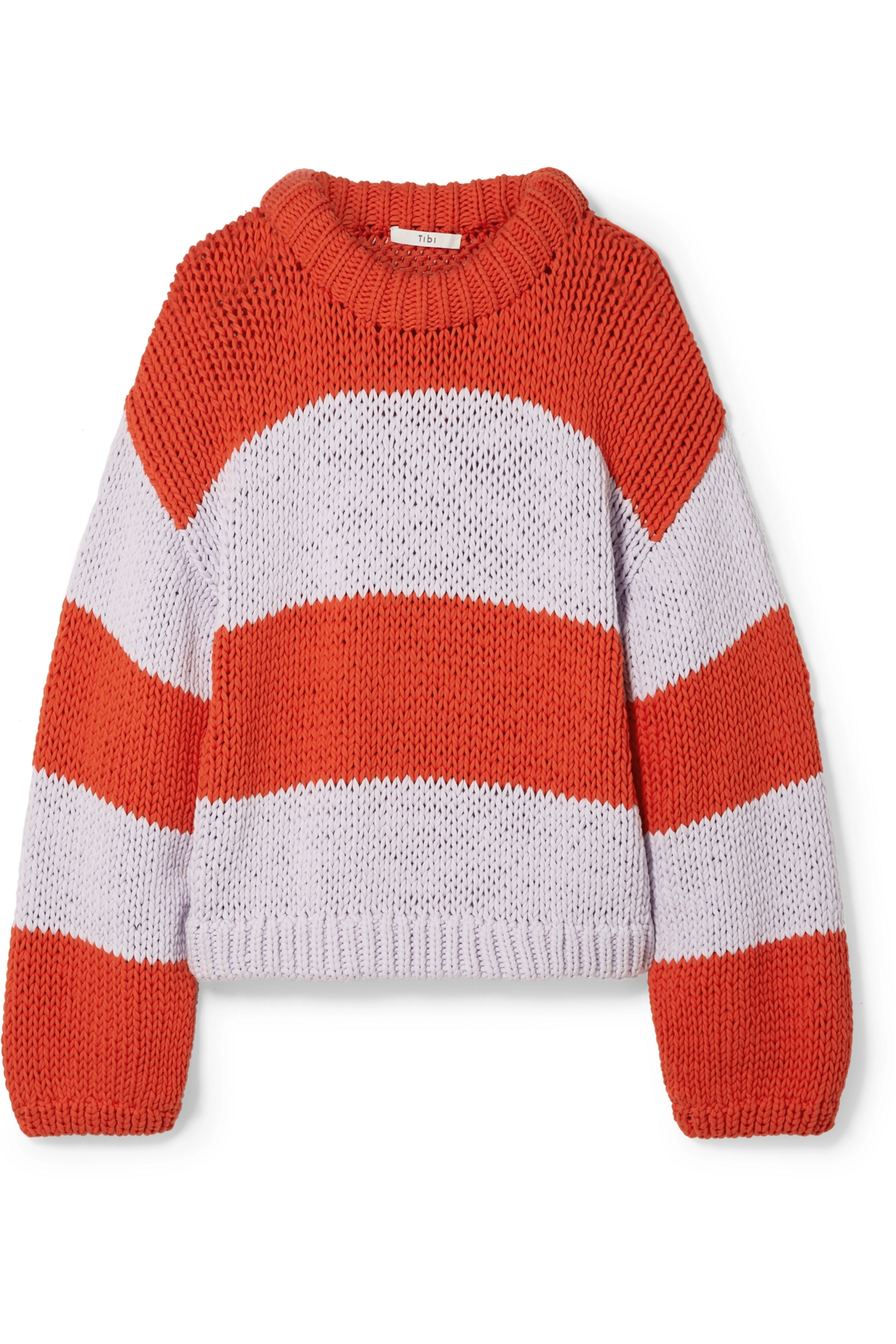 Oversized striped cotton-blend sweater