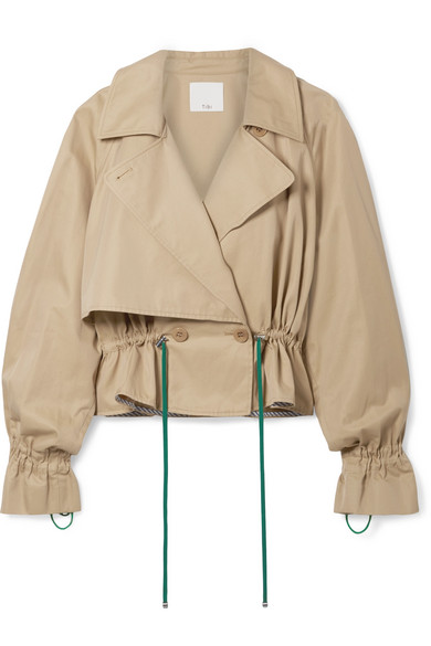 Finn Water Resistant Twill Crop Trench Coat in Tan