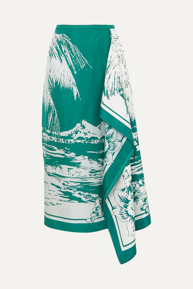 Leilani Printed Twill Asymmetrical Midi Skirt in Emerald