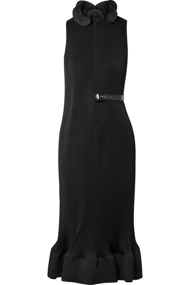 Ruffled Belted Plissé-Crepe Dress in Black