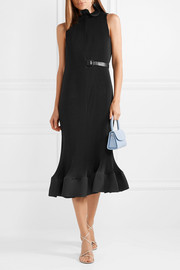 Tibi Ruffled belted plissé-crepe dress