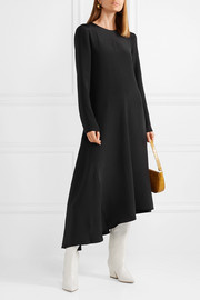 Tibi Tie-back asymmetric silk midi dress