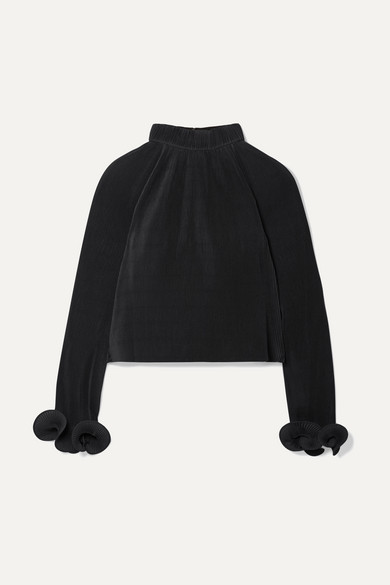 Cropped Plissé-Crepe Top in Black