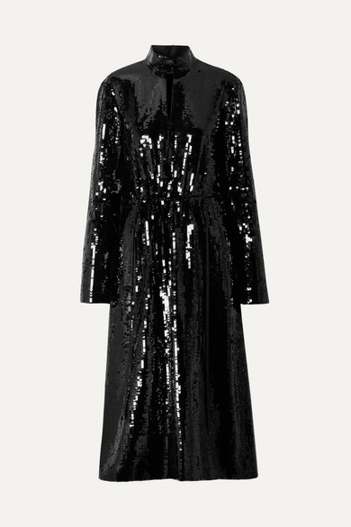 Avril Shell-Paneled Sequined Cotton Midi Dress in Black