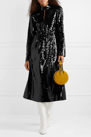 Tibi Avril shell-paneled sequined cotton midi dress