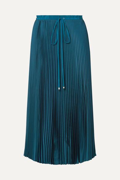 Mendini Pleated Twill Midi Skirt in Teal
