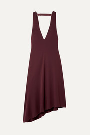 Tibi Open-back asymmetric crepe midi dress