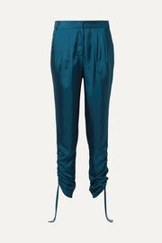 Mendini ruched satin-twill tapered pants
