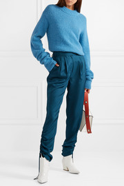 Tibi Mendini ruched satin-twill tapered pants