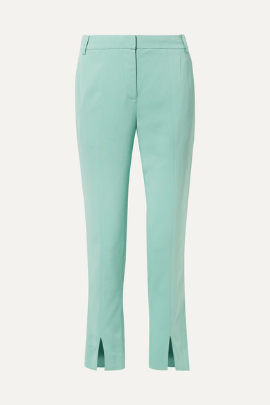 Beatle Stretch-Crepe Straight-Leg Pants in Turquoise