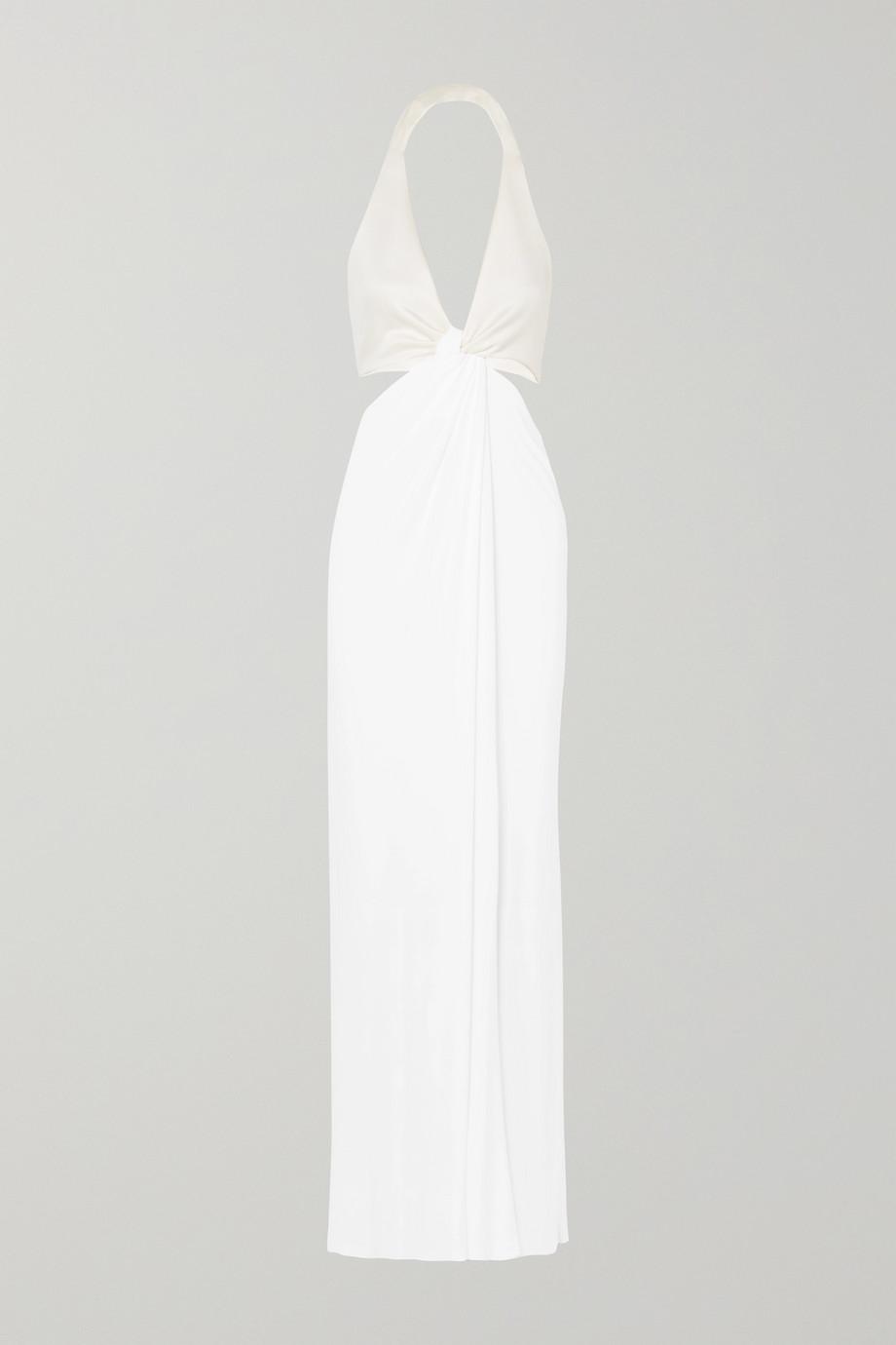 Galvan Neckholder-Robe aus Stretch-Jersey und Crêpe mit Twist-Detail