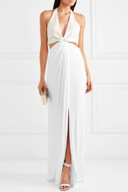 Twist-front stretch-jersey and crepe halterneck gown