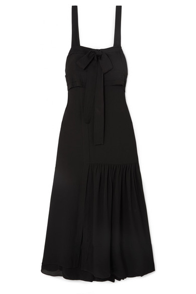 Cold Shoulder Silk Tie Gown in Black
