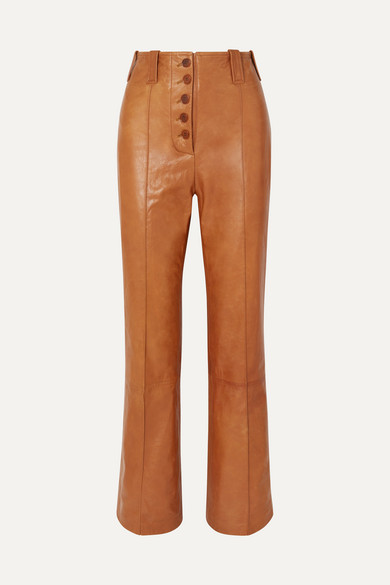 Button Fly Kick Flare Pants in Camel