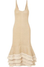 Tasseled crochet-knit cotton-blend maxi dress